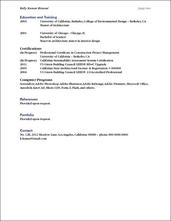 resume based on cv two